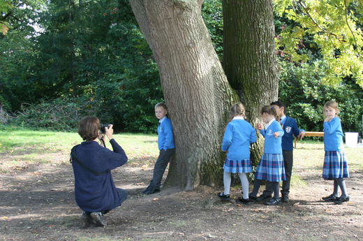 School photos have been taken outside in the grounds this year
